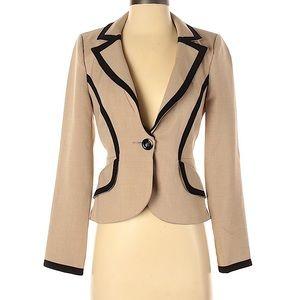 XOXO Blazer Long Sleeve Trim Tan Size M